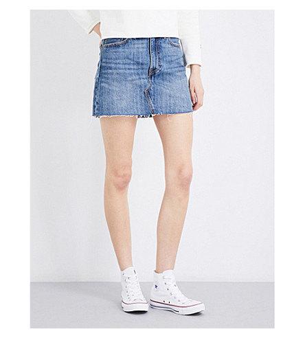 LEVI'S Deconstructed mid-rise denim skirt (War+torn+blues