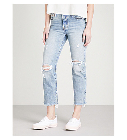 LEVI'S Wedgie Straight distressed high-rise jeans (Lost+inside