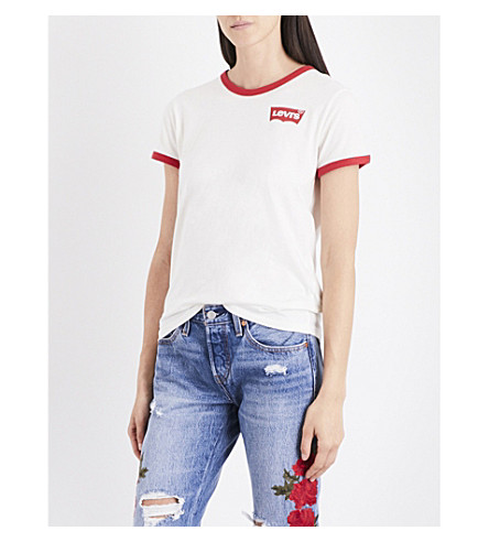 LEVI'S The Perfect Ringer cotton-jersey T-shirt (Ringer+marshmallow