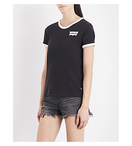 LEVI'S The Perfect Ringer cotton-jersey T-shirt (Ringer+jet+black