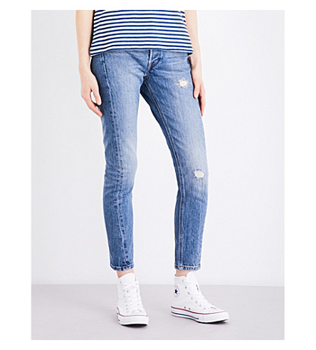 LEVI'S 501 distressed skinny high-rise jeans (Moody+blues