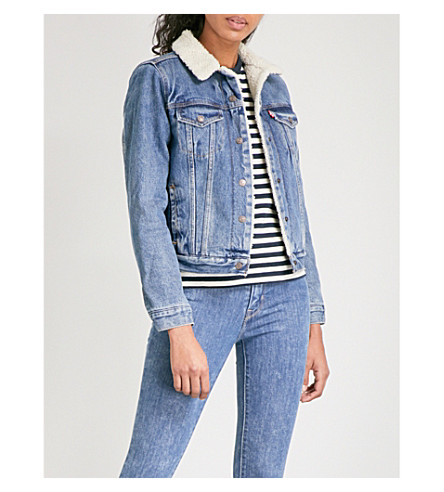 LEVI'S Sherpa collar denim trucker jacket (Extremely+lovable