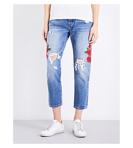 LEVI'S 501 rose-embroidered tapered cropped mid-rise jeans (Custom+blues