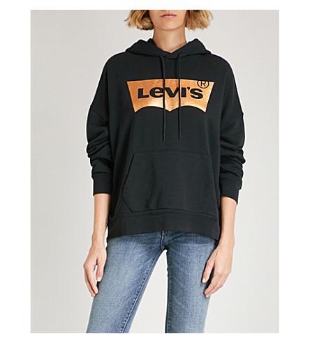 LEVI'S Foiled logo-print cotton-jersey hoody (Copper+foil+caviar