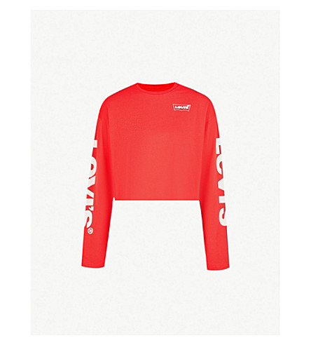 LEVI'S Logo-print cropped cotton-jersey T-shirt (Housemark+play+red
