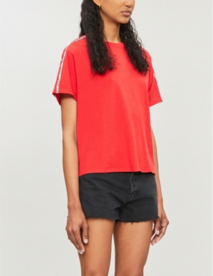 Varsity branded-panel cotton-jersey T-shirt