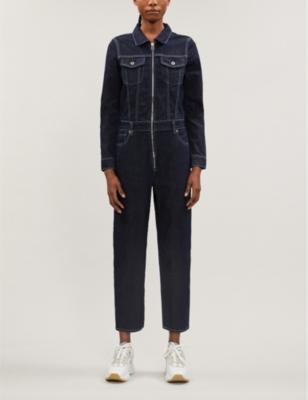 Zip-up stretch-denim jumpsuit