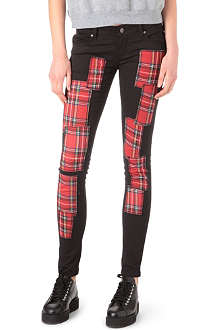TRIPP NYC Tartan-patch skinny low-rise jeans