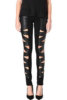TRIPP NYC Faux-leather cut-out trousers