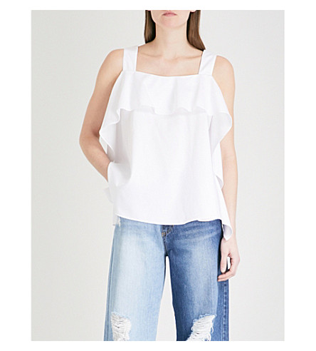 SJYP Shirring sleeveless cotton-poplin top (White