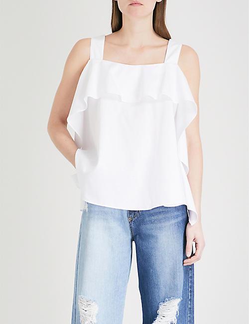 SJYP Shirring sleeveless cotton-poplin top