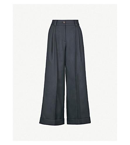 SJYP Wide-leg woven-twill trousers (Navy