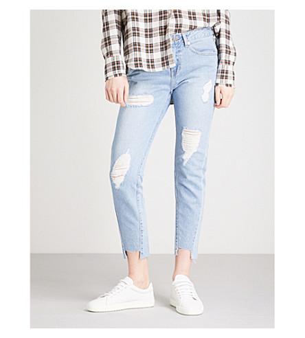 SJYP Unbalanced-hem slim-fit high-rise jeans (Light+blue+0030