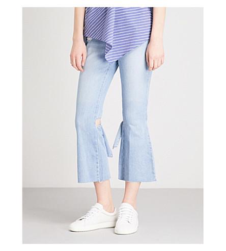 SJYP Ribbon-detail slim-fit high-rise jeans (Denim+blue+0033