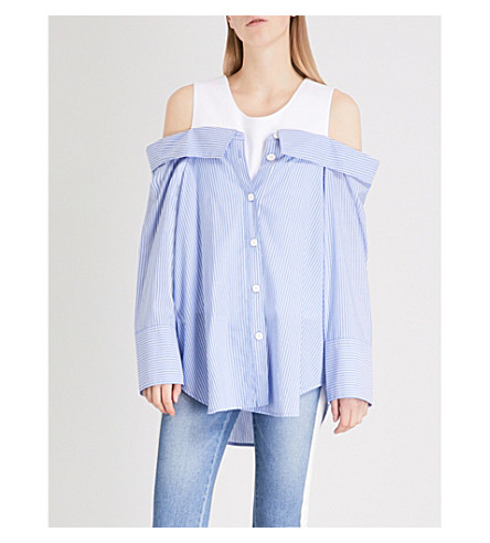 SJYP Striped cold-shoulder cotton shirt (Light+blue+0030