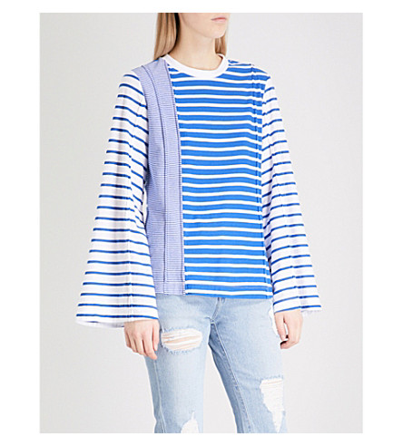 SJYP Striped cotton top (Blue+0031