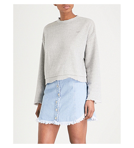 SJYP Destroyed cotton-jersey sweatshirt (Grey+0095