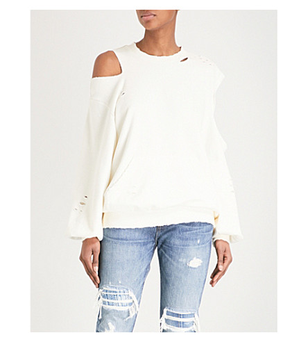 SJYP Destroyed cotton-jersey sweatshirt (Ivory+031