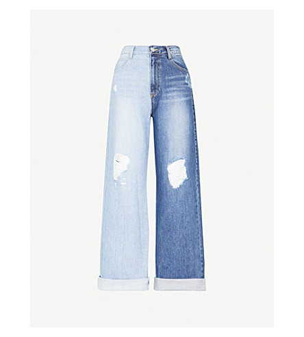SJYP Two-Tone slim-fit wide-leg high-rise jeans (Denim blue