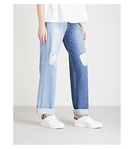 SJYP Two-Tone slim-fit wide-leg high-rise jeans (Denim+blue