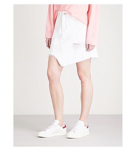 SJYP Unbalanced denim mini skirt (White