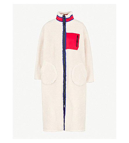 SJYP Reversible shearling-lined shell coat (Red