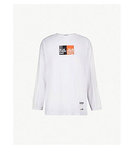 SJYP Stripe Tape cotton-jersey top (White