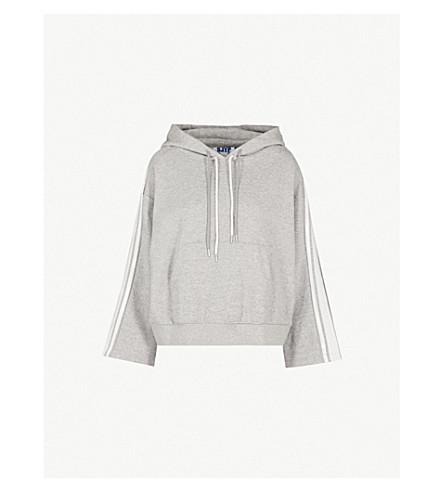 SJYP Striped-detail jersey hoody (Grey
