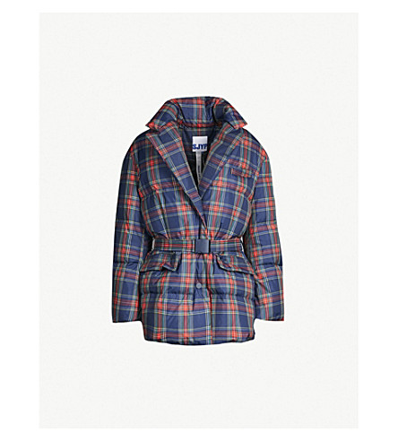 SJYP Checked padded down jacket (Navy