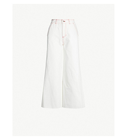 SJYP Contrast-stitch wide cropped high-rise jeans (White