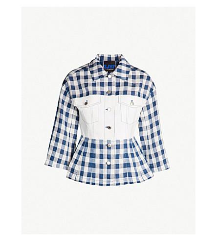 SJYP Gingham-patterned linen and denim jacket (Navy
