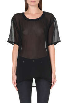 BLK DNM Scoop-neck silk top