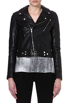 BLK DNM 1 cropped leather biker jacket