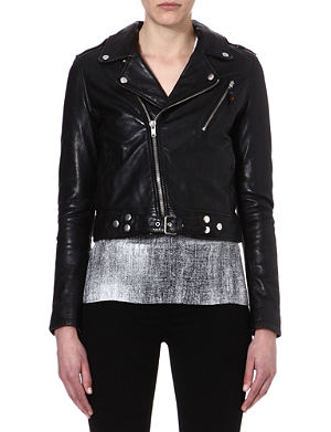 BLK DNM Cropped leather biker jacket