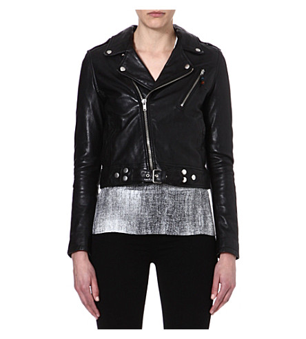 BLK DNM Cropped leather biker jacket (Black