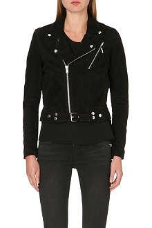 BLK DNM Suede cropped biker jacket