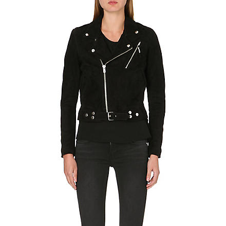 BLK DNM Suede cropped biker jacket (Black