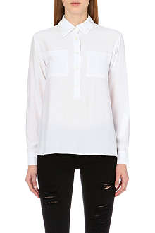 FRAME Le Boyfriend silk-satin shirt