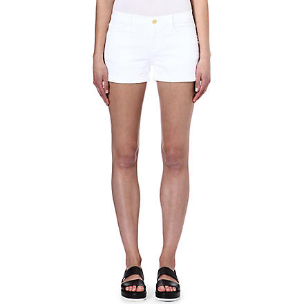 FRAME Stretch-denim cut-off shorts (Blanc