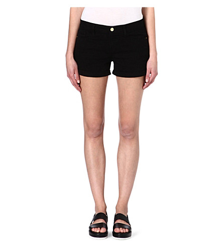 FRAME Stretch-denim cut-off shorts (Noir