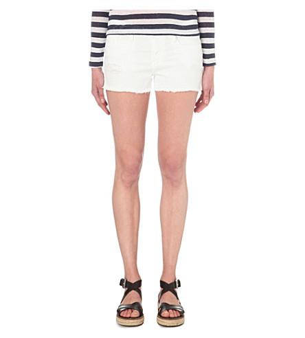 FRAME 剪下磨损-下摆伸展-牛仔短裤 (Rip + 勃朗峰