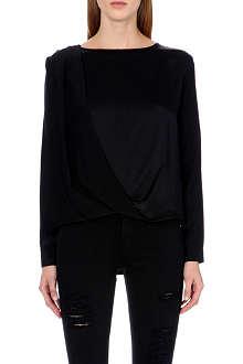 FRAME Le Drape silk-satin shirt