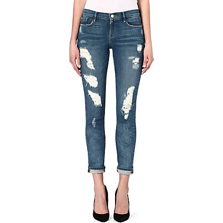 FRAME Le Garcon skinny-fit distressed jeans (Alpine
