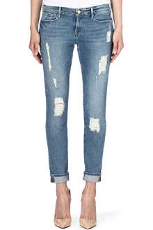 FRAME Le Garcon skinny-fit distressed jeans