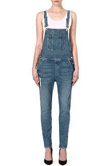 FRAME Le Garcon stretch-denim overalls
