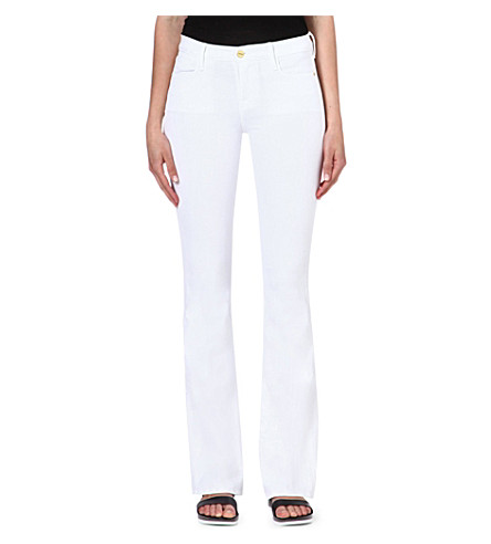 FRAME Flared high-rise jeans (Blanc