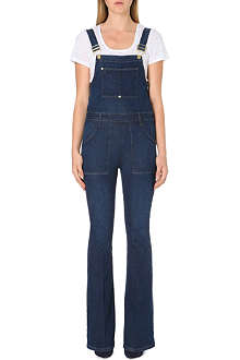 FRAME Stretch-denim flared dungarees