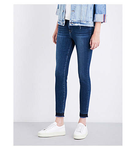 FRAME Le High skinny high-rise frayed jeans (Dunes