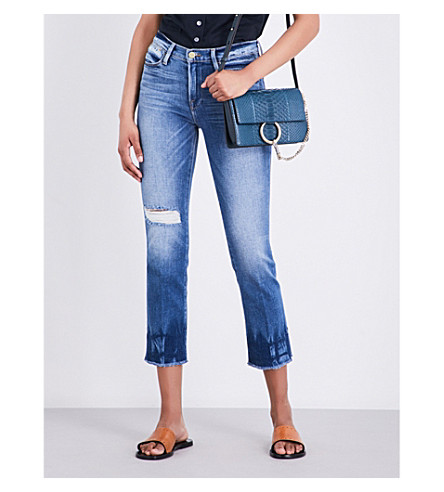 FRAME Le High Straight distressed straight high-rise jeans (Merriweather