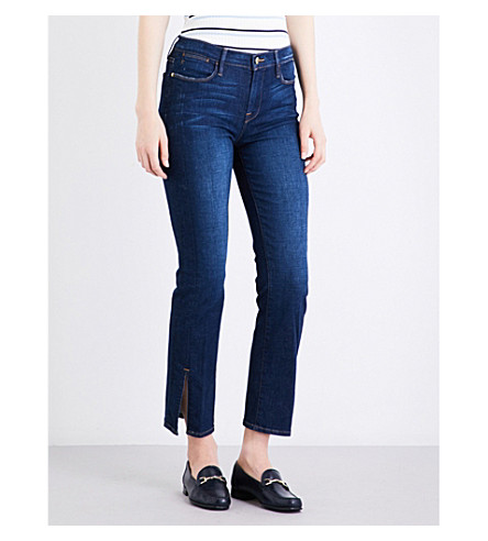 FRAME Le High split-detail high-rise straight-leg jeans (Helms
